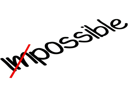Word impossible transformed into possible, motivation concept