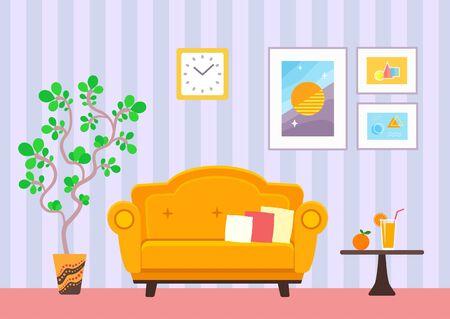 Illustration for Indoor living room interior vector flat illustration - Royalty Free Image