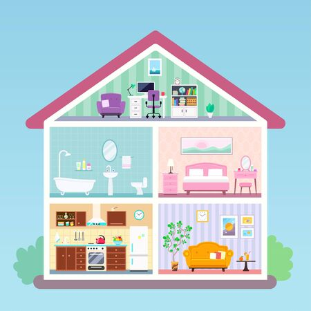 Illustration for Modern house inside interior in cut. Rooms with furniture: kitchen, bathroom, living room, loft with workplace, bedroom. Vector flat illustration - Royalty Free Image