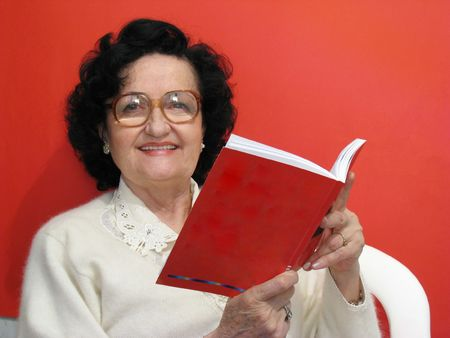 mature lady reading book