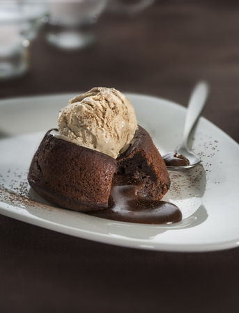 Hot chocolate fondant lava cake pudding with ice cream