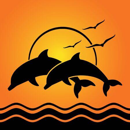 Illustration pour dolphin silhouettes on sunset background - image libre de droit