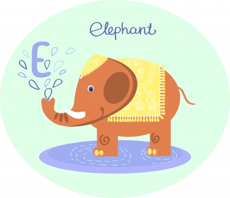 ABC  letter E   Elephant のイラスト素材