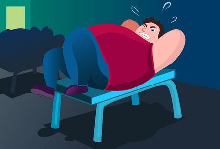 An image of a fat man lying on a bench in a gym and trying to do push ups