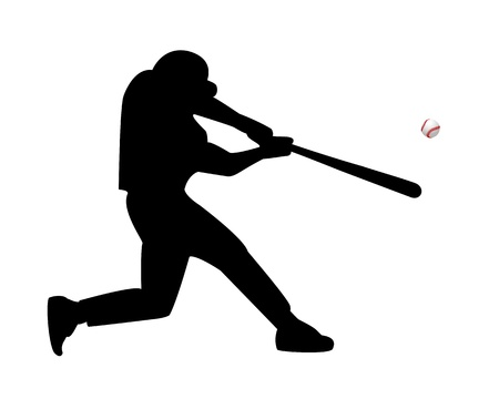 baseball player hits the ball on a white background