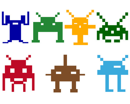 varicoloured space robots on a white background