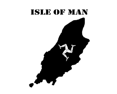 Black silhouette of the map and the white silhouette of the Isle of Mani symbol