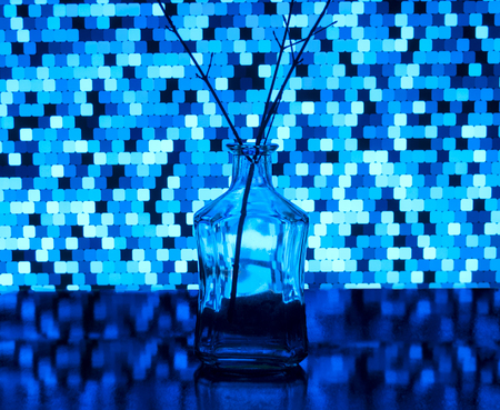Bottle transparent and inserted twig on a background of light blue squares