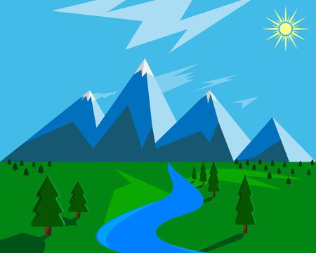 Illustration pour mountains pond and trees with clouds and sun - image libre de droit