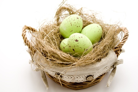 Easter eggs in the basket with straw