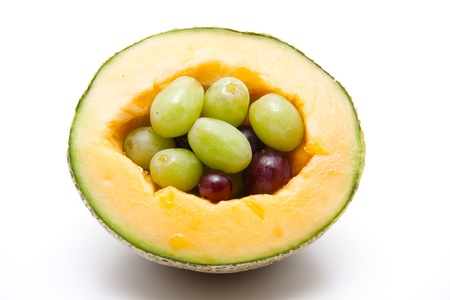 Melon stuffed with grapes