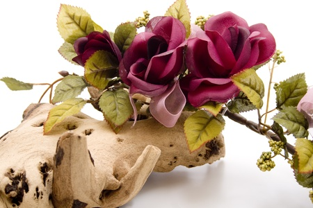 Wooden root with garland