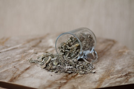 Dry sage in tea glass