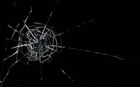 Photo for Round white cracks in glass on black background. - Royalty Free Image