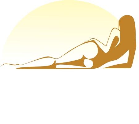 Vektor für sunbathing girl lies at sunset - Lizenzfreies Bild