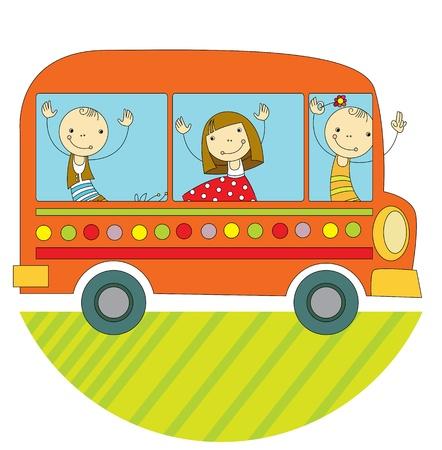 Illustration pour children travel by bus around the world - image libre de droit