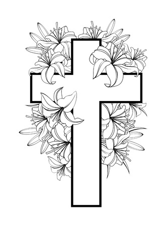 Illustration pour Cross with white lilies. Christian symbol of purity and innocence. black and white illustrations isolated on white background. - image libre de droit