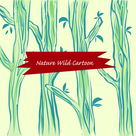 Landscape forest trees Vector illustration of wild nature cartoonのイラスト素材