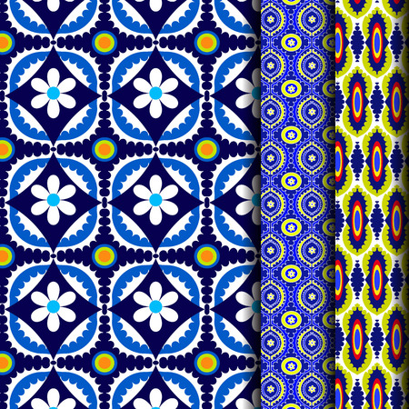 Seamless set blue Pattern Geometric Pattern Yellow Flower Pattern Purple and purple
