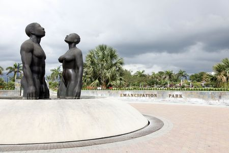 Kingston, Jamaica - December 20, 2009 - Redemption Song monument in Emancipation Park.