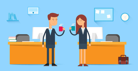 Illustration pour Coffee break, male and female characters in the office, flat style - image libre de droit