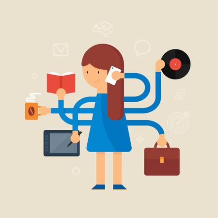 Multitasking woman vector illustration, flat style