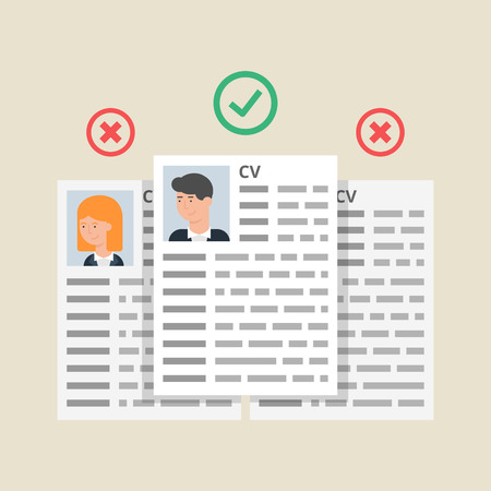 CV resumes, employees selection process. Vector illustration, flat style