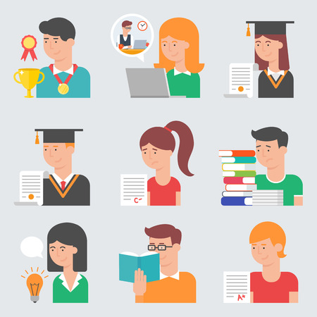 Illustration for Set of flat style vector education icons. E-learning, online education, graduation, testing, student life - Royalty Free Image