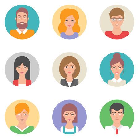 Illustration pour Set of vector flat style avatars, male and female characters - image libre de droit