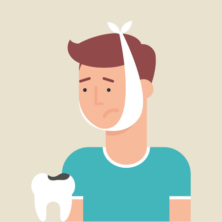 Illustration of a man with toothache, flat style