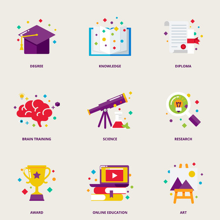 Illustration pour Education and research colorful icons set: degree, knowledge, diploma, brain training, science, research, award, online education, art - image libre de droit