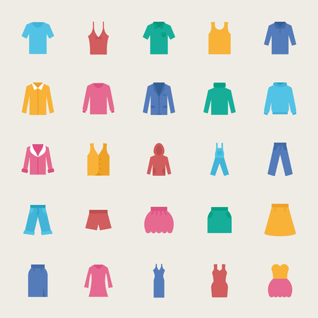 Illustration for Clothes vector icons set, flat style - Royalty Free Image