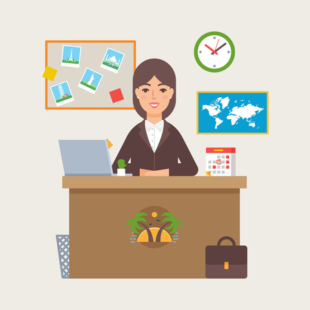 Vektor für Travel agency vector illustration of a woman sitting at the table in the office - Lizenzfreies Bild