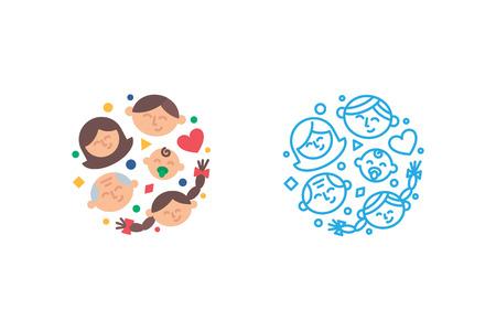 Illustration pour Family logo template. Vector illustration modern flat and line style - image libre de droit