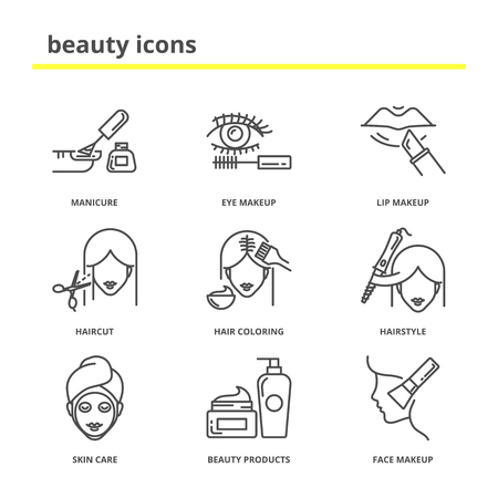 Illustration pour Beauty vector icons set: manicure, eye and lip makeup, haircut, hair coloring, hairstyle, skin care, beauty products, cosmetics. Line style - image libre de droit