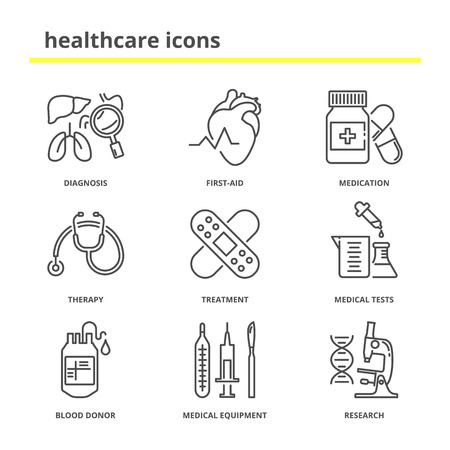 Healthcare and medical vector icons set: diagnosis, first