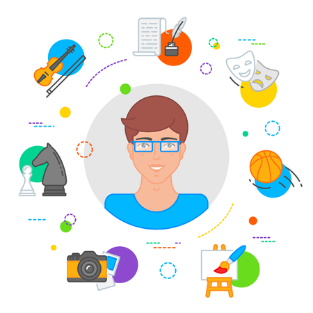 Hobbies choice illustration, education concept flat style