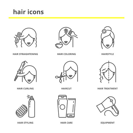 Photo pour Hair vector icons set: straightening, coloring, hairstyle, curling, haircut, hair treatment, styling, care, equipment. Line style - image libre de droit