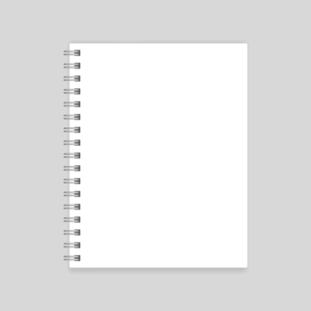 Illustration pour White blank realistic spiral notebook mockup isolated - image libre de droit