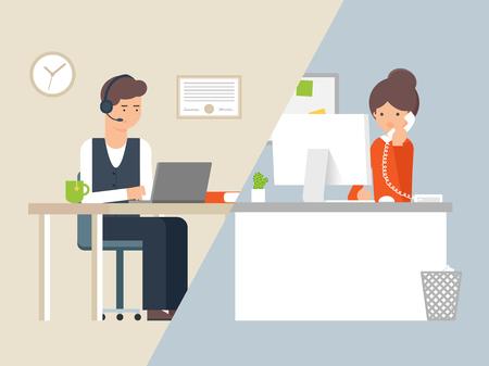 Ilustración de Vector illustration call centre operator and customer, support service - Imagen libre de derechos