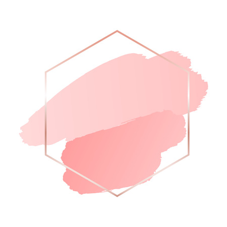 Illustration pour Abstract pink brush background with hexagon geometric frame rose gold color - image libre de droit