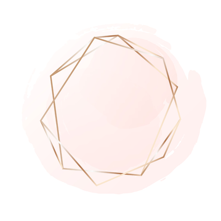 Ilustración de Rose gold frame with pastel pink background. Logo background for beauty and fashion - Imagen libre de derechos