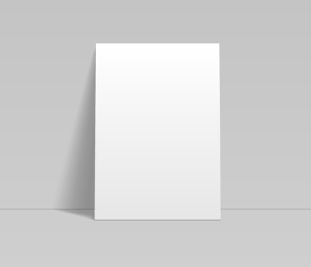 Illustration pour Blank white sheet of paper leaning at the wall template, vector mockup - image libre de droit