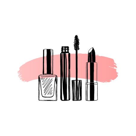 Illustration pour Makeup banner nail polish, mascara, lipstick. Hand drawn vector illustration - image libre de droit