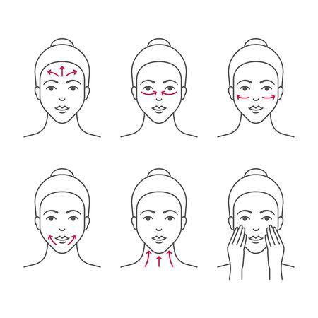 Illustration pour Facial massage outline vector icons - image libre de droit