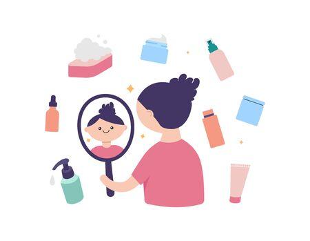 Illustration pour Skin care cute vector illustration - image libre de droit