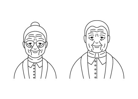 Illustration for Senior people woman man vector icons line style - Royalty Free Image