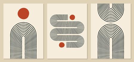 Illustration pour Abstract rainbow and sun illustrations. Trendy mid century art, boho home decor, wall art. Scandinavian minimalist art. - image libre de droit