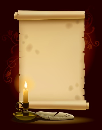Banner in the form of old parchment with a light