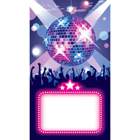 Vector image of disco banner with a party in the night club